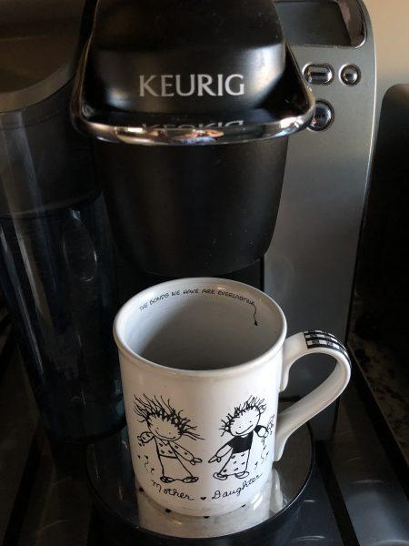 coffee mug on Keurig coffee maker
