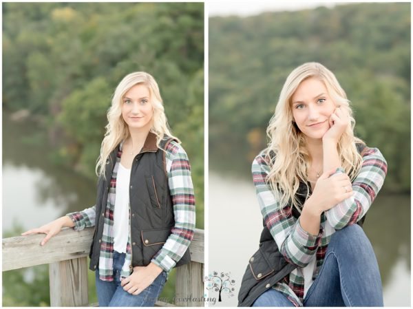 Side by side photos of beautiful senior high school student with long blonde hair weairing flannel plaid shirt and a vest with denim, and a curving river background.