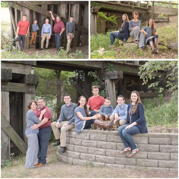 family portrait montage with family of 8 outdoors in park like setting