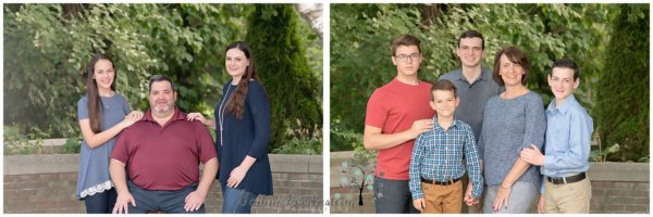 family portraits grouped with father and daughters and mother with sons in park like outdoor setting