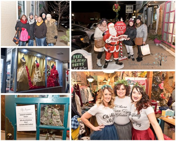 Cute holiday shoppers dressed up, cozy storefront