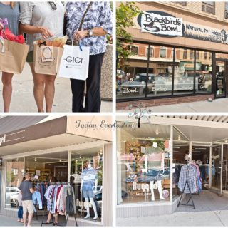 Quaint downtown shops, and shoppers with good finds