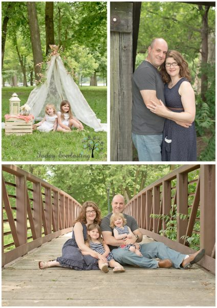 Cute family outdoor portrait with children under lace teepee and family seated on rustic bridge